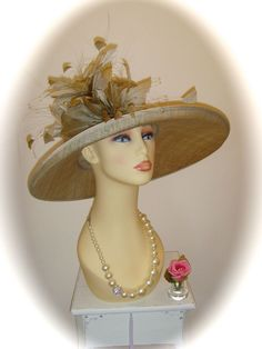Gwyther Snoxell Hat, Gold, 17 inch, Weddings Races Ladies Formal