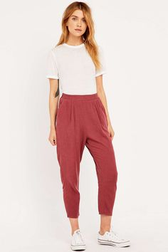 BDG Rust Linen Mix Trousers in Red