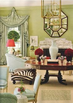 Miles Redd, looove him, these curtains are very Colfax and Fowler...pretty greens.