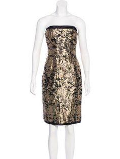 CH Carolina Herrera Strapless Jacquard Dress w/ Tags