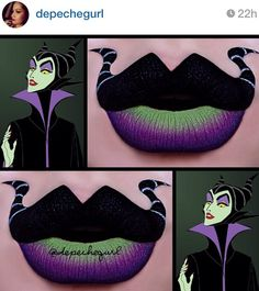 12 Most Awesome Works of Lip Art Lipstick, , Disney Inspired Makeup, Disney Makeup, Maleficent Makeup, Malificent, Disney Villains Makeup, Maquillage Halloween Clown, Halloween Face Makeup, Lipstick Art, Lip Art