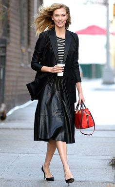 Karlie Kloss in a striped shirt, midi skirt and blazer - click through for more celebrity outfit ideas