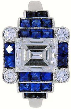 Diamond  Sapphire Art Deco Ring