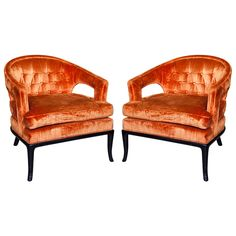 Pair Mid Century Arm Chairs by Robsjohn-Gibbings for John Stuart  USA  1960s  Pair of mid century modern style armchairs or club chairs, the orange velvet upholstered seat raised on ebonized splayed legs. By T.H. Robsjohn-Gibbings for John Stuart.