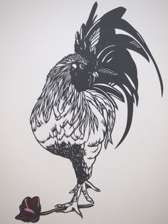 framed rooster paper cut by Nuchiwacca on Etsy, ¥16500