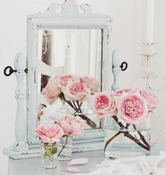 Pretty things- beautiful flowers and baby blue! Love #shabbychic  #paleandpretty  #cottagestyle  #diy #romantichome  #chalkpaint by coastalfarmhouse