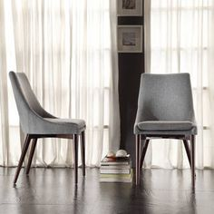 Shop Sasha Mid-century Grey Fabric Upholstered Tapered Leg Dining Chairs (Set of iNSPIRE Q Modern - On Sale - Overstock - 8927898 Linen Dining Chairs, Modern Dining Chairs, Kitchen Chairs, Dining Chair Set, Outdoor Dining, Kitchen Dining, Transitional Dining Chairs, Outdoor Lounge, Furniture Deals