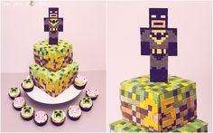 Batman Minecraft cake par Un Jeu d'Enfant