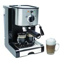 Capresso Pump Espresso and Cappuccino Machine Stainless steel lined ThermoBlock heating system removable water container Indicator lights for On/Off and Coffee/Steam Two sieves Cappuccino Maker, Espresso Maker, Espresso Coffee, Coffee Maker, Coffee Shop, Espresso Machine Reviews, Best Espresso Machine, Barista, Coffee Steam