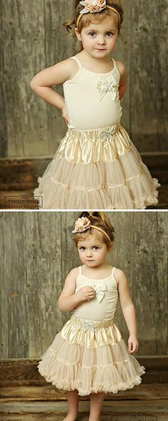 Macaroon Cafe Petti Tutu Skirt - Ivory - available in 4 colors Pretty Flower Girl Dresses, Flower Girl Dresses Country, Flower Girl Tutu, Lace Flower Girls, Girls Dresses, Lace Weddings, Wedding Dresses, Vintage Inspired Dresses, Cute Skirts