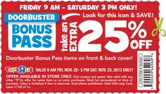 Pinned November 22nd: Extra 25% off doorbusters through 3pm #Saturday at Toys R Us #coupon via The Coupons App