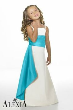 Satin A-line,Pleated Style 14 Junior Bridesmaid Dress by Alexia Designs