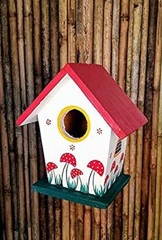Wonderland Hand-Made and Hand Painted Hanging/Wall Pine Wood Bird Houses Cool Bird Houses, Wooden Bird Houses, Decorative Bird Houses, Bird Houses Painted, Painted Birdhouses, House Painting, Diy Painting, Painting On Wood, Wood Bird