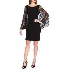 Tahari Lace Sleeve Crepe Sheath Dress (23020 ALL) ❤ liked on Polyvore featuring dresses, black, black sleeve dress, little black dress, sleeve dress, long sleeve dress and elie tahari dresses