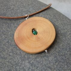 Wood jewelry - rubber wood with Chrysoprase - stone & wood pendant necklace