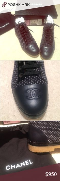 Chanel Lace Ups Unique and amazing authentic Chanel Lace Ups in Fan Tweed which is black, grey, and dark navy. Never worn. Price pretty firm but open to reasonable offers. CHANEL Shoes Lace Up Boots