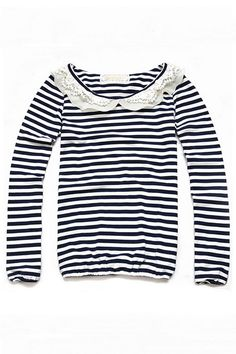 Peter Pan Collar Stripe Printing Long Sleeve T-shirt - http://www.oasap.com/t-shirts-vests/18112-peter-pan-collar-stripe-printing-long-sleeve-t-shirt.html?fuid=28462