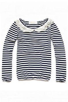 Peter Pan Collar Stripe T-shirt