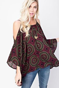 Clothing   -   Cold Shoulder Floral Print Top