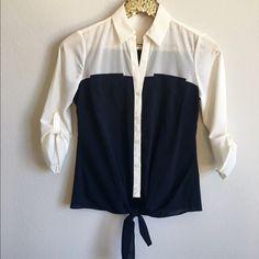 The Limited Tie Blouse Only worn once, like new condition! Ties in front at waist, sheer material so you'll need a cami underneath. The Limited Tops Blouses