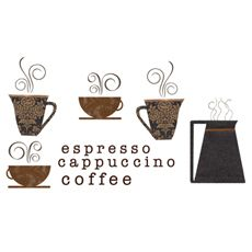 Coffee Cups and Coffee Pot Vinyl Wall Decal Set