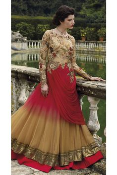 Buy Debonair Embroidered Work Net Beige and Red Designer Gown.Buy latest stylish salwar kameez suit online: shop for indian wedding long gowns to look like a true fashionable diva. Shop debonair net beige and red designer gown. Bridal Anarkali Suits, Pakistani Party Wear Dresses, Indian Dresses, Indian Frocks, How To Dress For A Wedding, Wedding Wear, Wedding Gowns, Wedding Outfits, Net Gowns