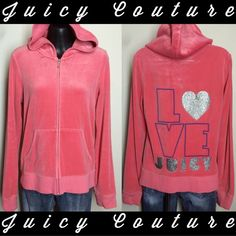 REDUCED❥Juicy Couture peachy pink hoodie Juicy Couture peachy pink colored hoodie. (Original, NOT Kohl's) Juicy Couture Jackets & Coats