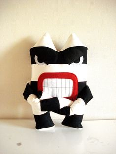 Monster Expressive Black and White Stripes by cronopia6 on Etsy, $26.00