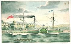 """Steam ship """"Comet"""", 1834, coloured lithograph  - National Maritime Museum"""