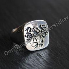°Individueller Silberring mit Familienwappen vom Siegelringe-Hersteller °Customized silver ring with family crest made by Siegelringe-Hersteller
