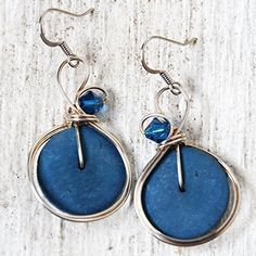 Coconut Shell Earrings - Big Blue Dangle Earrings Swarovski Crystal Wire Wrapped Jewelry * Read more reviews of the product by visiting the link on the image. (Amazon affiliate link)