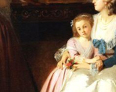 Madame de Lamballe faisant la lecture à Marie Antoinette et sa fille (Détail) Joseph Caraud . 1858