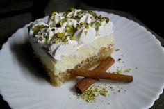 ekmek kantaifi Greek Desserts, Easy Desserts, Recipies, Cheesecake, Deserts, Food And Drink, Ice Cream, Sweets, Recipes