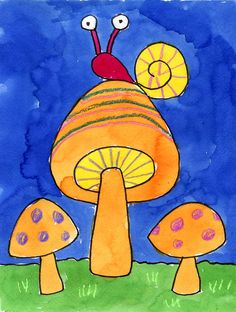 Mushrooms and Snails watercolor painting. Art Projects for Kids