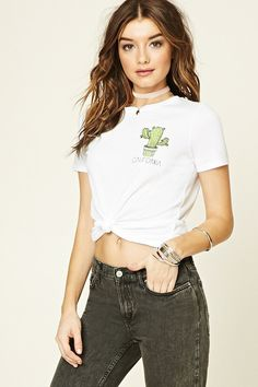Check out these 43 cactus-printed pieces that any desert plant fanatic will love. Pictured: Forever 21 California Cactus Graphic Tee
