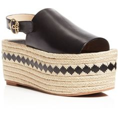 Tory Burch Dandy Espadrille Platform Slingback Sandals (659.205 COP) ❤ liked on Polyvore featuring shoes, sandals, black, braided leather sandals, platform sandals, black braided sandals, black platform shoes and espadrille sandals