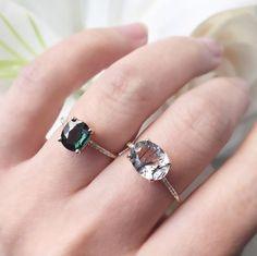 Vale Jewelry Lumen Ring with Tourmalinated Quartz and Montana Sapphire Ring