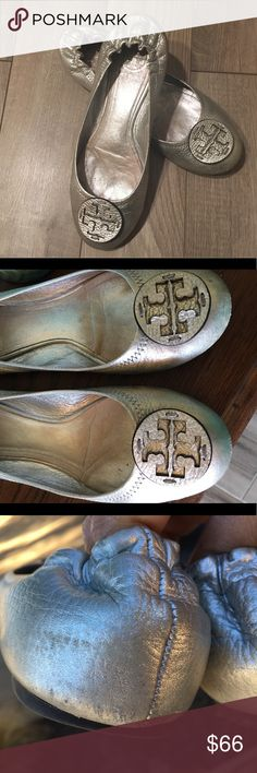 Tory Burch size 8 Metallic Silver Flats Size 8 Metallic Silver in good condition with a few normal wear flaws.  Runs 1/2 size small so if you wear a 7.5 these would fit perfect. Tory Burch Shoes Flats & Loafers