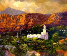 Painting  by Marcia Cox Johnson of the beautiful St. George Temple surrounded by the red cliffs.