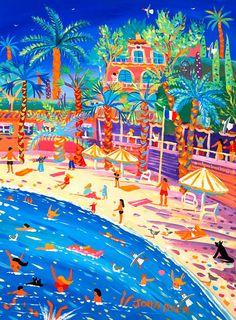 Art Gallery Cote dAzur. Galerie d'Art La Cote dAzur. Galerie Monaco. Gallery Monaco. Paddling and Posing, Saint Jean Cap Ferrat 24 x 18 inches, acrylic on canvas 61 x 45 cm, acrylique sur toile SOLD