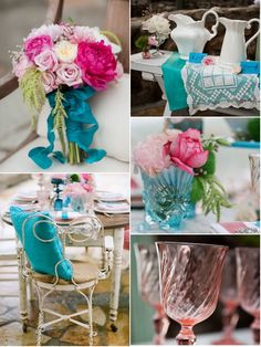 in pretty pink and turquoise