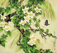 flowers with butterfly - Jin Hongjun art - Jing Hongjun is a traditional Chinese artist who was born in Beijing in 1937. As a professional artist at the Beijing Painting Institute, Professor Jin particularly specialized in fine brushwork.