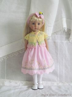 "13"" Effner Little Darling,BJD Pink & Yellow custom stitch OOAK handmade by JEC #DollClothingAccessories"