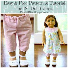 Free Easy Pattern Tutorial for an 18 American Girl Dolls Capri Pants - Pickled Okra: American Girl Outfits, American Girl Diy, American Doll Clothes, Sewing Doll Clothes, Girl Doll Clothes, Girl Dolls, Sewing Pants, Dolls Dolls, Rag Dolls