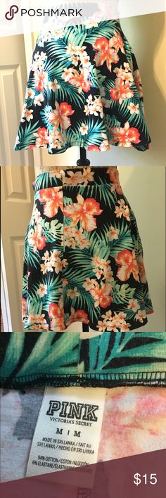 """Pink by Victoria secret floral mini skirt Pretty blue, green and orange floral mini skirt by Pink by Victoria Secret. Gently used. Sized medium. 94% cotton and 6% rayon. Waist measures 14"""" and skirt is just under 16"""" long. PINK Victoria's Secret Skirts Mini"""