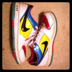 Nike multi color sneakers Aqua , yellow, white, and black sneakers. Nike Shoes Sneakers