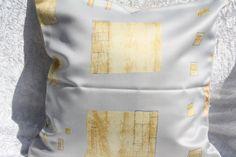 Kissen - Kissenhülle hellgrau gold 40x40cm Kissen grau gelb - ein Designerstück von trixies-zauberhafte-Welten bei DaWanda