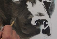 I am often asked how to paint black hair dogs and cats. There is a simple yet effective trick to painting black fur, so in this class I will reveal the secret to successfully painting black haired animals. Animal Paintings, Animal Drawings, Drawing Animals, Let's Make Art, Dog Quilts, Painting & Drawing, Painting Fur, Painting Trees, Painting Lessons