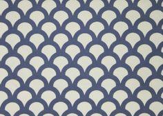 Kyoto Koi Fabric A white cotton canvas fabric printed with a cornflower blue geometric design