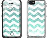 Teal Shimmer Chevron Pattern - Lifeproof iPhone 6 Fre, LifeProof iPhone 5 5S 5C Fre Nuud, Lifeproof iPhone 4 4S Fre Case Decal Skin Cover